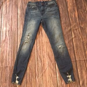 Hollister High Rise Super Skinny Distressed Jeans